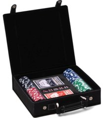 bey-berk poker set case with 100 clay poker chips, two decks of playing cards, 5 dice