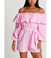 river island womens pink bardot frill belted playsuit