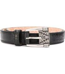 etro crocodile embossed leather belt - black