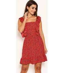 ax paris women's printed square neck frilled dress