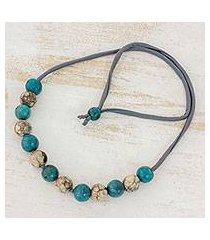 batik ceramic beaded necklace, 'ancient harmony' (honduras)