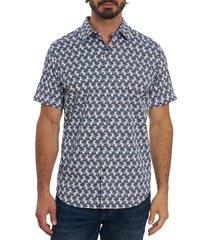 robert graham men's avory floral sport shirt - blue - size xl