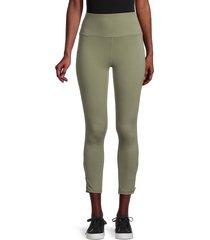 nine west women's zipper-leg leggings - olive tree - size xl