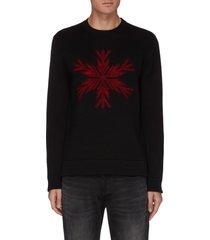 'snowflake' merino wool crewneck sweater