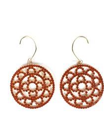 area orange crystal crochet earrings