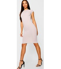 cap sleeved ribbed bodycon dress, grey