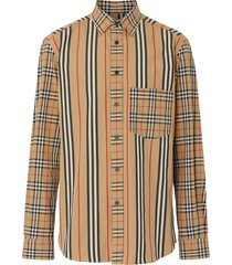 burberry classic fit patchwork cotton poplin shirt - neutrals