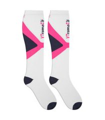 meia feminina de compressão branca esportiva ciclismo duck meias