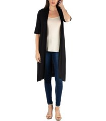 24seven comfort apparel half sleeve open front cardigan with side slit
