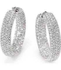 adriana orsini women's pavé crystal rhodium-plated inside-outside hoop earrings