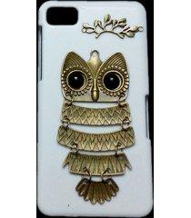 cute retro bronze metal owl branch hard back skin case cover for blackberry z10
