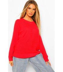 oversized trui met open schouders, red