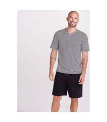 pijama joge pijama curto malha bianca masculino listra