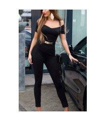 sexy jumpsuit met gouden gesp & carmen halslijn zwart