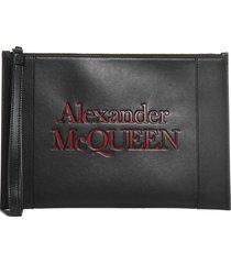 alexander mcqueen logo leather pouch