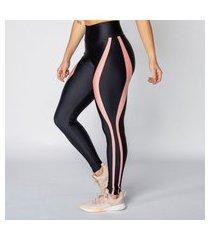 calça legging poliamida black detail rosê feminina água e luz
