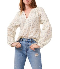 1.state half placket floral print top, size x-large in soft ecru at nordstrom