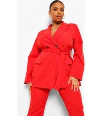 plus oversized blazer met ceintuur, red