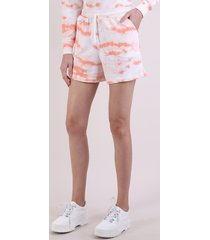 short de moletom feminino cintura super alta estampado tie dye com bolsos coral