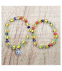 recycled glass beaded stretch bracelets, 'greater grace' (pair) (ghana)