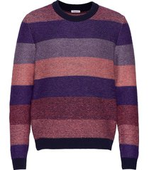 multi colored striped o-neck knit - gebreide trui met ronde kraag multi/patroon knowledge cotton apparel