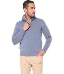 sweater azul 9 preppy m/l c/alto media cr t. grueso