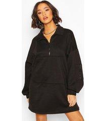fleece zip front oversized sweatshirt dress, black