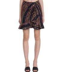self-portrait skirt in multicolor polyamide