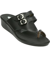 sandalia plataforma tres puntas negro romulo 5010
