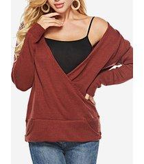 maglione casual con scollo a v in tinta unita lavorato a maglia