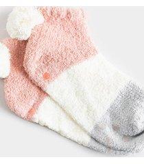 mariah color block fuzzy socks - gray