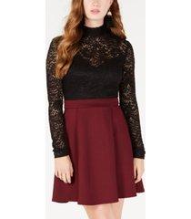 b darlin juniors' lace-top fit & flare dress