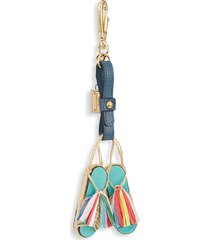 dolce & gabbana women's frayed leather key chain - blue multi