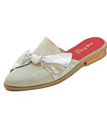 babucha nudo plateado amano shoes