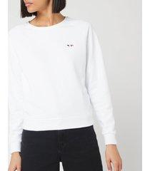 maison kitsuné women's sweatshirt tricolor fox patch - white - l