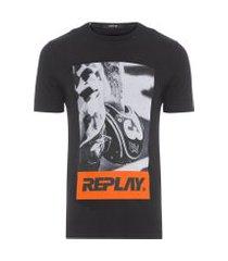 t-shirt masculina estampa capacete - preto