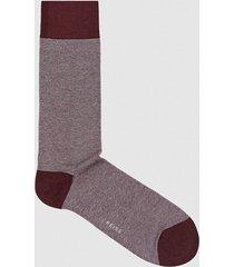 reiss sam - cotton blend socks in bordeaux, mens