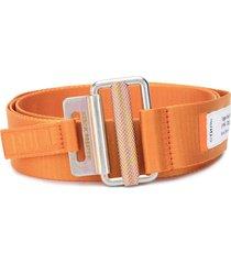 heron preston tape logo patch detail belt - orange