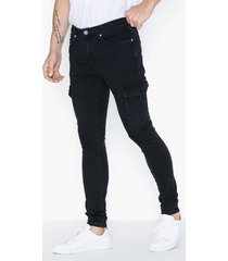 river island jacko cargo jeans washed black