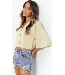 korte oversized satijnen blouse, yellow