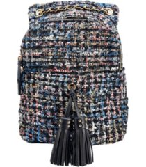 like dreams distorted print weave backpack with tassel bellishments