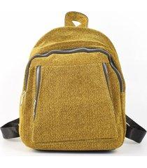 mochila tela brillo amarillo