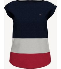 tommy hilfiger women's essential sleeveless colorblock top masters navy/ red - s