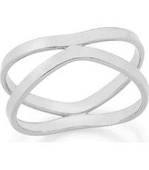 anel dois aros ondulados rommanel