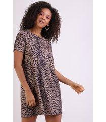 vestido feminino animal print curto manga curta decote redondo marrom