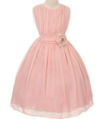 blush round neck yoryu chiffon flower girl dresses birthday bridesmaid wedding