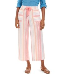 style & co striped linen capri pants, created for macy's