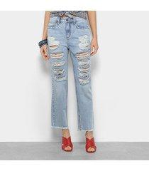 calça jeans boyfriend forum lolita cintura média feminina