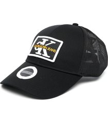 calvin klein embroidered logo patch cap - black