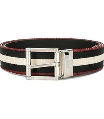 bally signature stripe-print belt - black